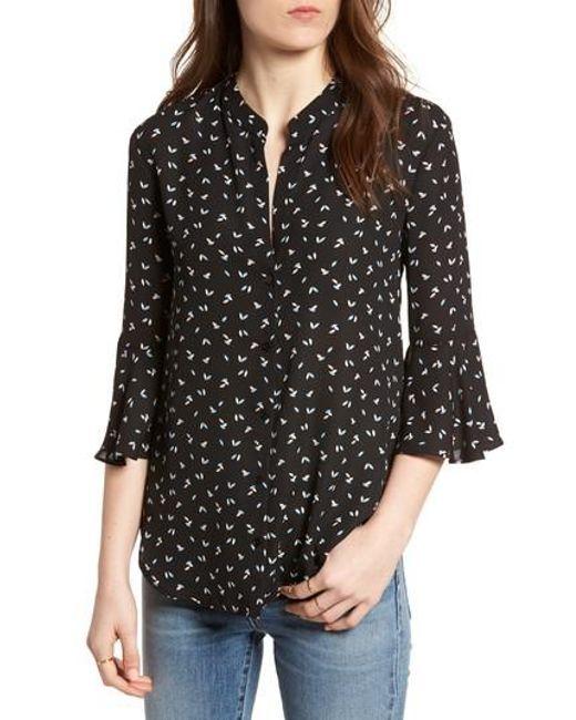 Lush - Black Print Bell Sleeve Shirt - Lyst