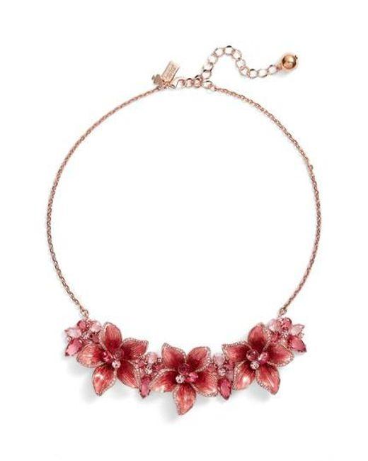 Kate Spade   Pink Winter Garden Statement Necklace   Lyst