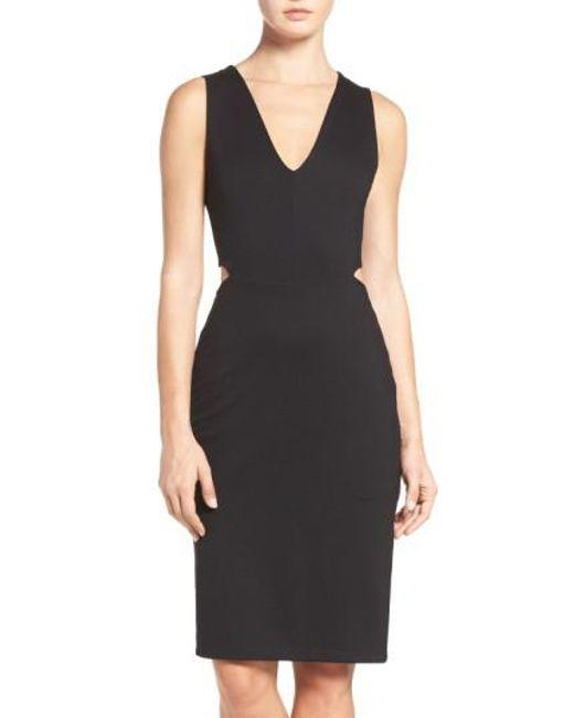 Fraiche By J - Black Ponte Cutout Sheath Dress - Lyst