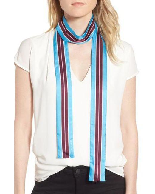 Kate Spade | Blue Geo Stripe Medium Skinny Silk Scarf | Lyst