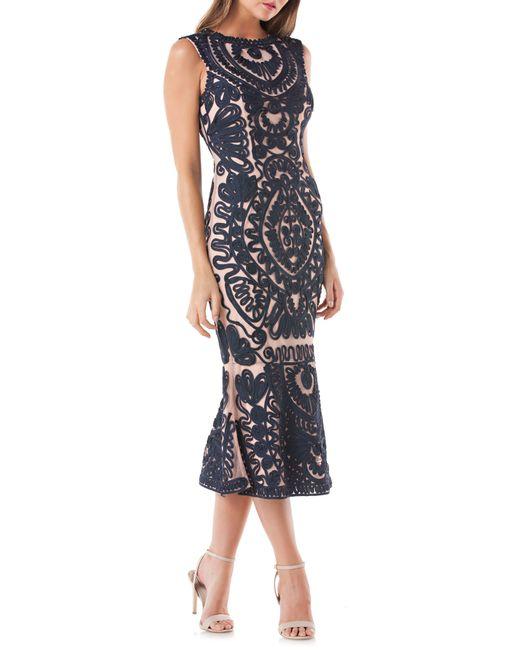 JS Collections - Blue Soutache Mesh Dress - Lyst
