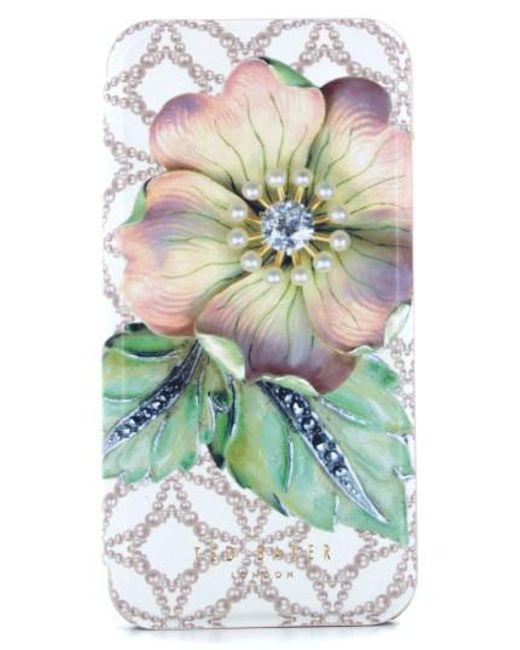Ted Baker | Green Mavis Iphone 7 & 7 Plus Mirror Folio Case | Lyst
