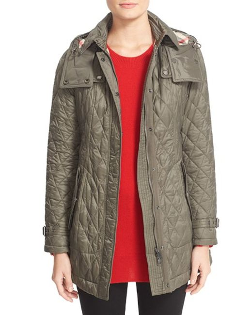 Burberry Brit | Gray 'finsbridge' Belted Quilted Jacket | Lyst