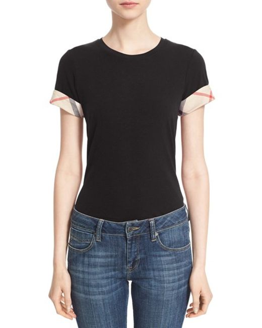 Burberry Brit | Black Burberry Check Trim Tee | Lyst