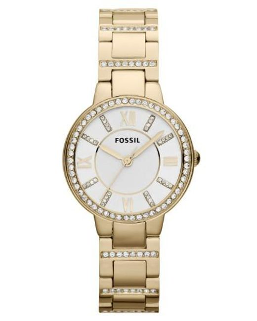 Fossil | Metallic 'virginia' Crystal Accent Bracelet Watch | Lyst