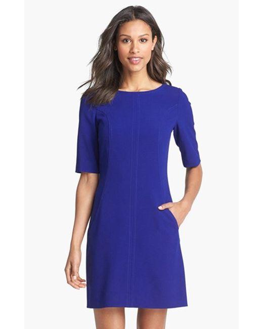 Tahari | Blue Seamed A-line Dress | Lyst