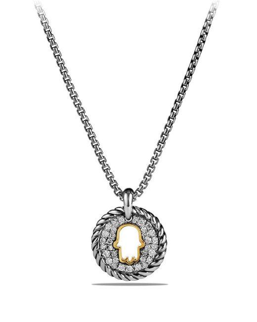 David Yurman - Metallic 'cable Collectibles' Hamsa Charm Necklace With Diamonds & 18k Gold - Lyst