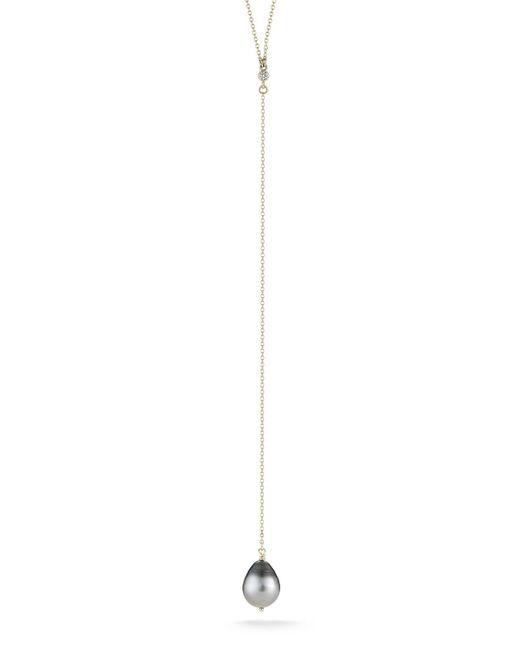 Mizuki - White Diamond & Pearl Y-necklace - Lyst