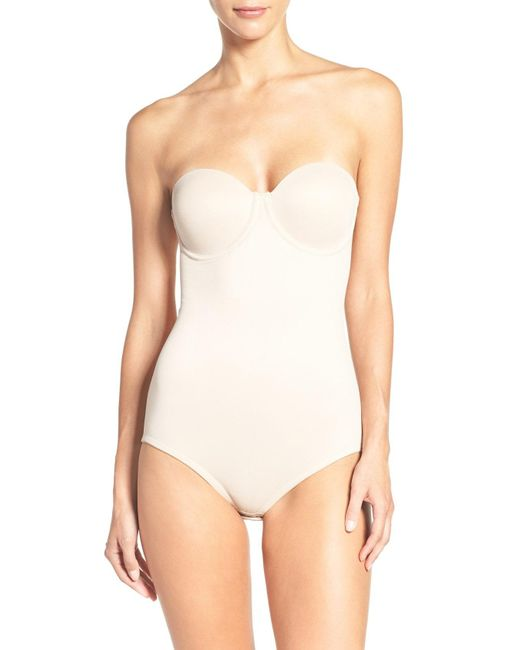 Tc Fine Intimates - Natural Strapless Shaper Bodysuit - Lyst