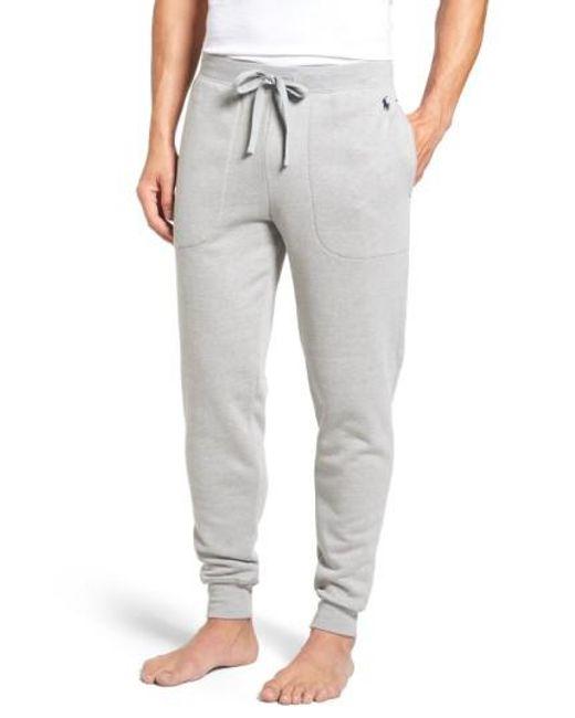 Polo Ralph Lauren - Gray Brushed Jersey Cotton Blend Jogger Pants for Men -  Lyst