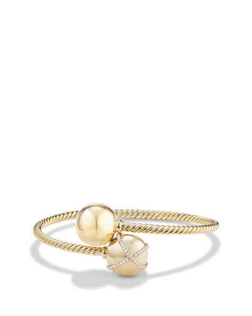 David Yurman - Metallic 'solari Bypass' Bracelet With Diamonds In 18k Gold - Lyst