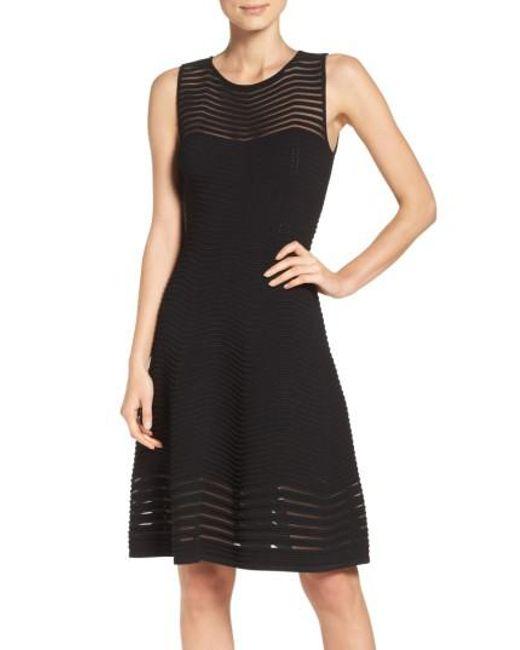 Eliza J | Black Chevron Fit & Flare Dress | Lyst