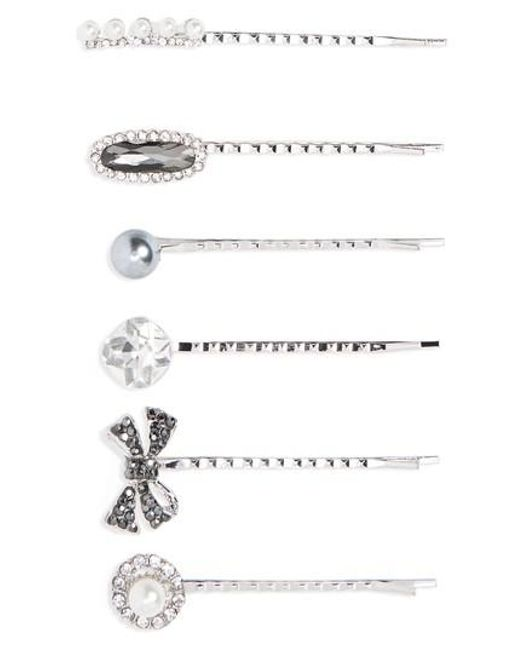 Cara   6-pack Imitation Pearl & Crystal Bobby Pins, Metallic   Lyst