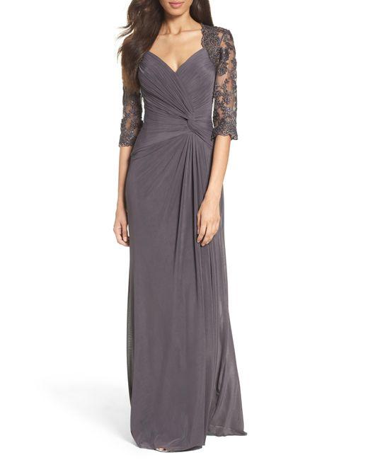 41185e17609 La Femme - Multicolor Lace   Net Ruched Twist Front Gown ...