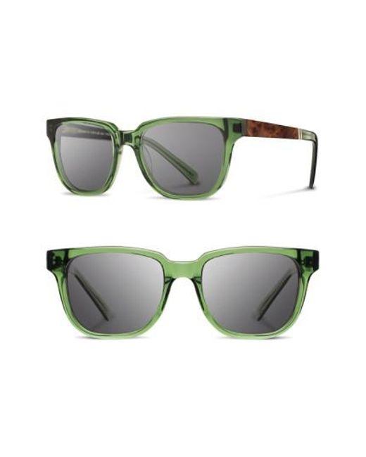 Shwood - Gray 'prescott' 52mm Polarized Sunglasses - Emerald/ Elm/ Grey for Men - Lyst