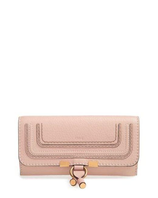 Chloé - Pink Marcie - Long Leather Flap Wallet - Lyst