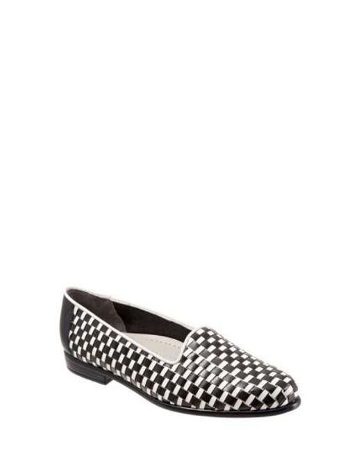 Trotters | Black Woven Leather Slip-Ons | Lyst