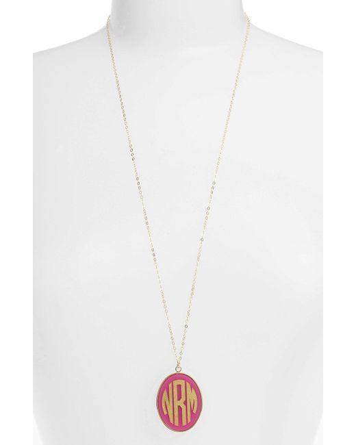 Moon & Lola - Metallic 'vineyard' Personalized Monogram Oval Pendant Necklace - Lyst