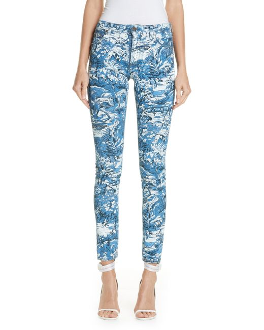 f8e8dc42aea1 ... Off-White c o Virgil Abloh - Blue Printed Skinny Jeans - Lyst ...