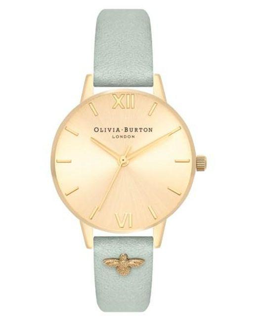 Olivia Burton - Metallic Bee Leather Strap Watch - Lyst