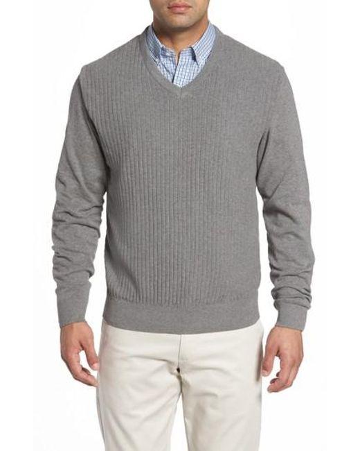 Cutter & Buck | Gray Bryant V-neck Sweater for Men | Lyst