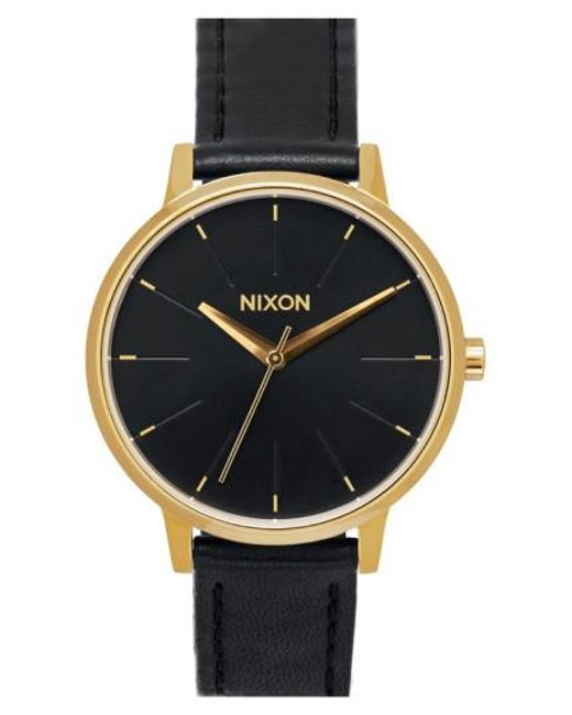 Nixon - Black 'the Kensington' Leather Strap Watch - Lyst