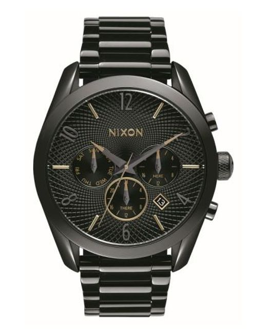 Nixon - Black 'bullet' Guilloche Chronograph Bracelet Watch - Lyst