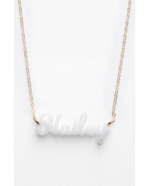 Moon & Lola | White 'script Font' Personalized Nameplate Pendant Necklace | Lyst