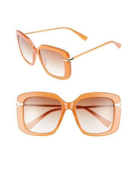 Derek Lam | Brown Anita 55mm Square Sunglasses - Amber | Lyst