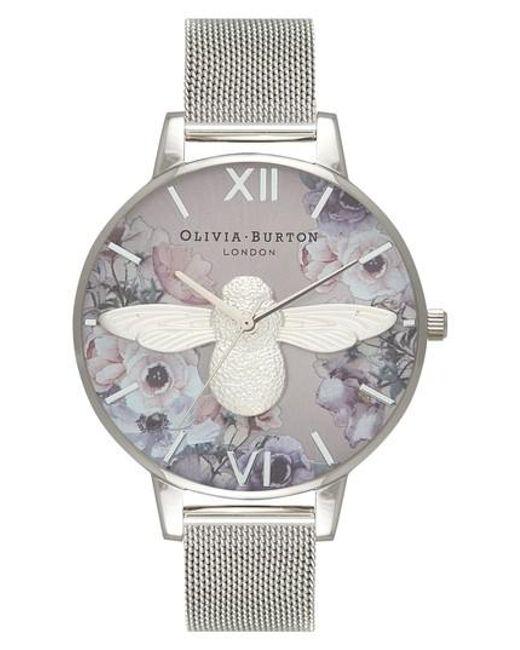 Olivia Burton - Metallic Watercolor Floral Mesh Strap Watch - Lyst