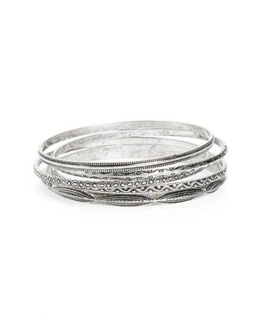 TOPSHOP | Metallic Set Of 5 Textured Bangles | Lyst
