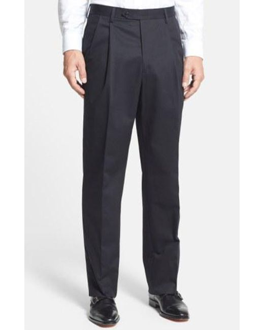 Berle - Blue Pleated Cotton Trousers for Men - Lyst