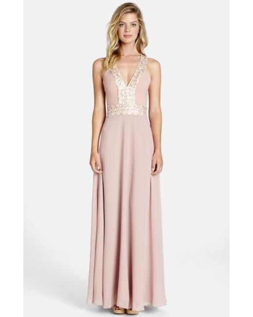 Dress the Population | Pink Delani Sequin Crepe Gown | Lyst
