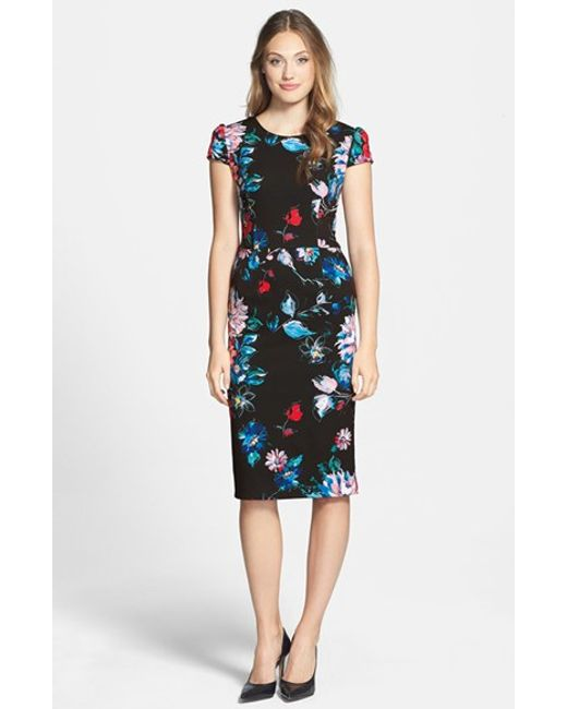Betsey Johnson | Blue Print Stretch Midi Dress | Lyst