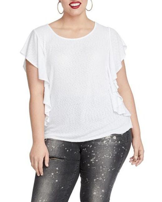 56ea277769149 Lyst - Rachel Rachel Roy Greta Flutter Sleeve Top in White