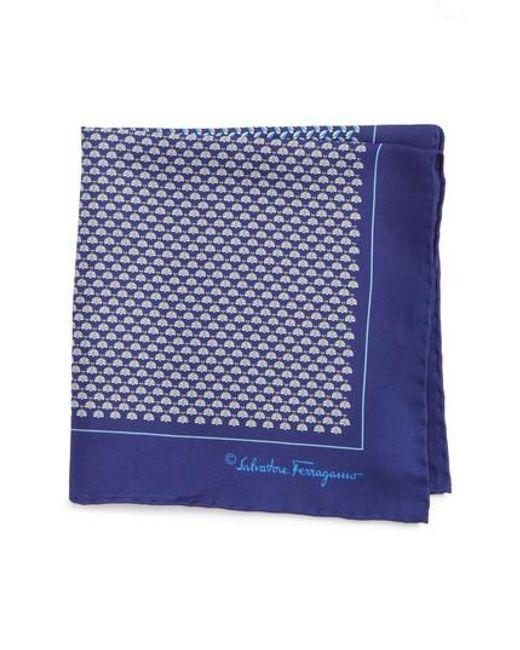 Ferragamo | Blue Salvatore Diana Silk Pocket Square for Men | Lyst