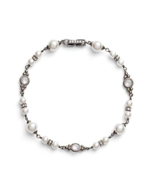 Nadri - Black Imitation Pearl Bracelet - Lyst