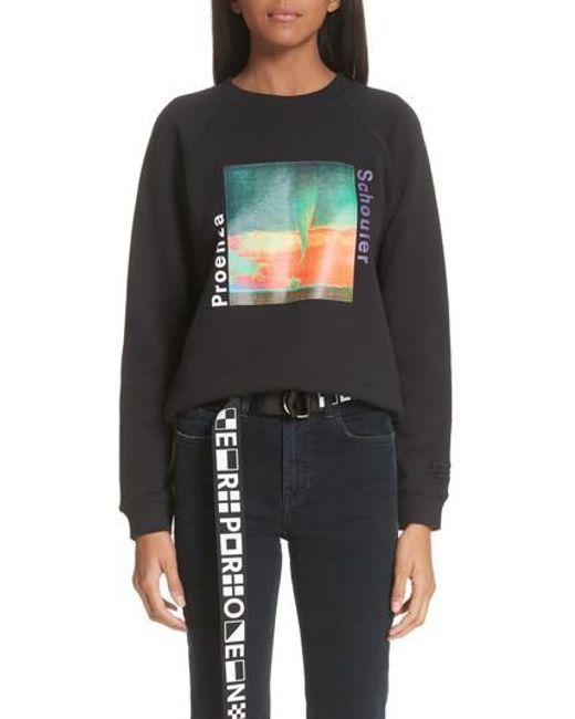 Proenza Schouler - Black Pswl Twister Graphic Sweatshirt - Lyst