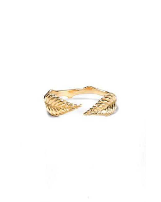 Nora Kogan - Metallic Double Leaf Open Ring - Lyst