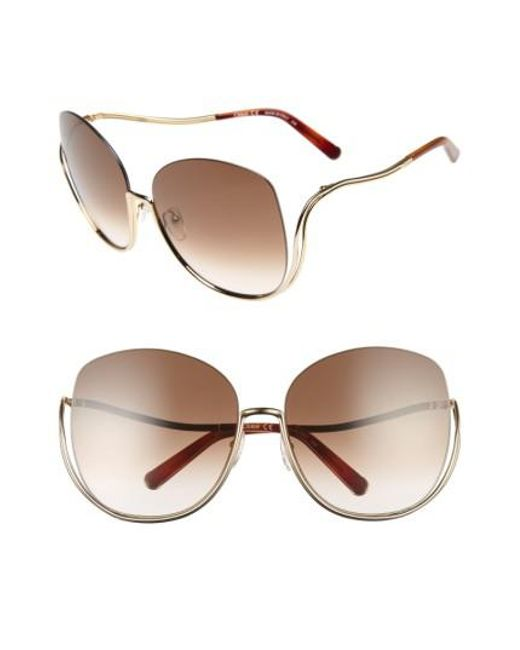 Chloé - Metallic 64mm OverGold/ Black - Lyst
