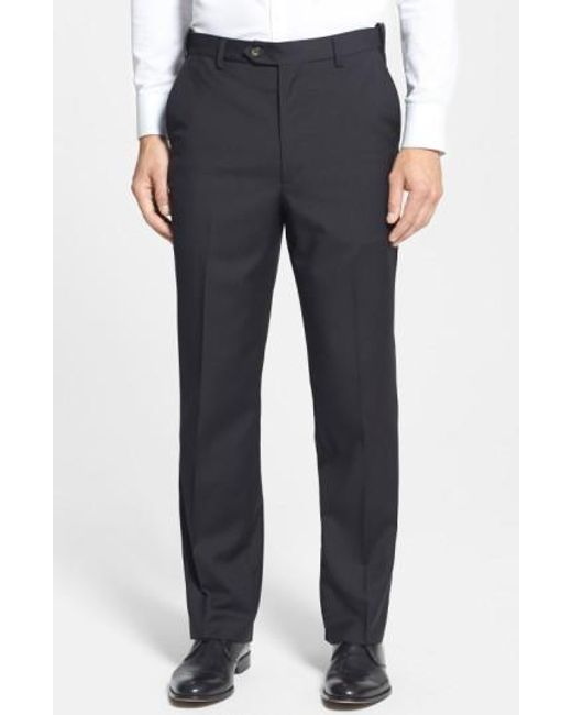 Berle | Blue Self Sizer Waist Flat Front Wool Trousers for Men | Lyst