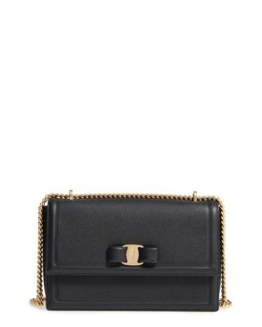Ferragamo | Black Medium Ginny Leather Shoulder Bag | Lyst