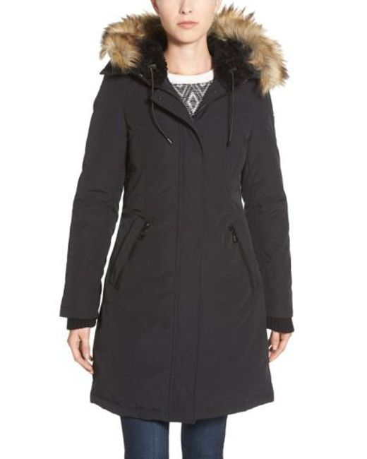 Vince Camuto | Brown Down & Feather Fill Parka With Faux Fur Trim | Lyst