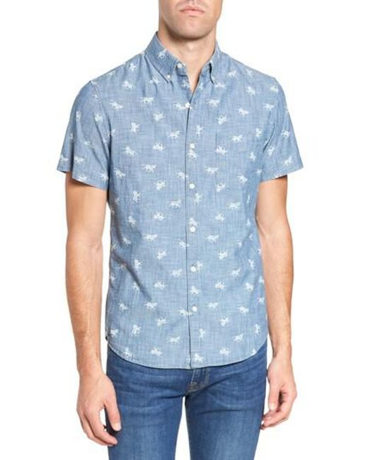 Bonobos   Blue Slim Fit Embroidered Zebras Sport Shirt for Men   Lyst