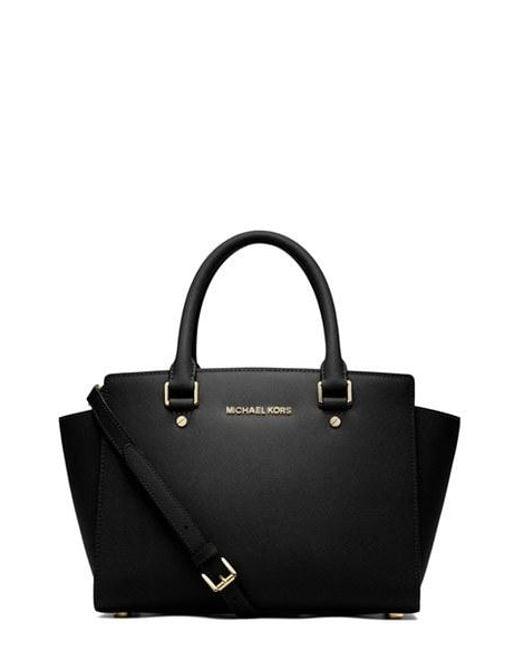 MICHAEL Michael Kors | Black 'medium Selma' Leather Zip Top Satchel | Lyst