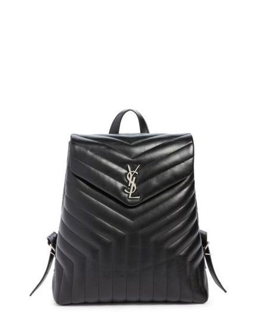 Saint Laurent | Black Medium Loulou Calfskin Leather Backpack | Lyst