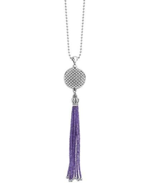 Lagos   Metallic Caviar Icon Tassel Pendant Necklace   Lyst