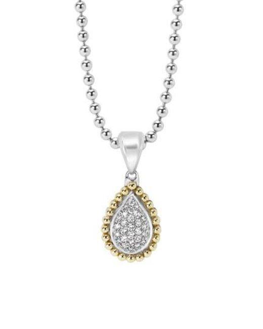 Lagos - Metallic Diamond Caviar Teardrop Pendant - Lyst
