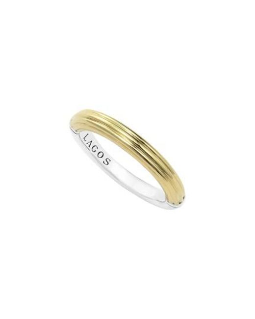 Lagos | Metallic Ribbed Stacking Ring | Lyst