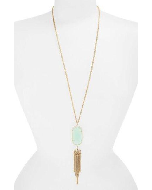 Kendra Scott | Metallic 'rayne' Stone Tassel Pendant Necklace | Lyst